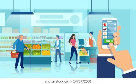 Online supermarket concept. Vector of a hand holding smartphone using grocery shopping app on a supermarket and customers background