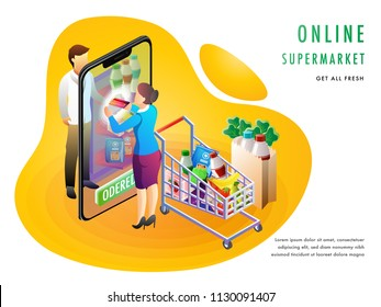 Online supermarket or grocery purchaing concept with an online store on smartphone screen, grocery products and shoping cart. Landing page design for advertisement.
