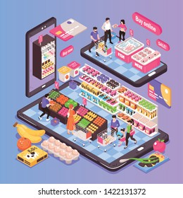 Online supermarket isometric composition on smartphone screen with shopping trolleys fruit vegetables shelves products customers vector illustration