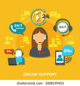 Online support composition on yellow background with operator in headset during communication by mobile devices vector illustration