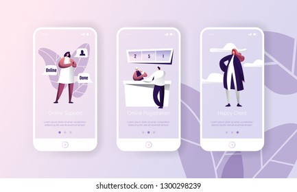 Online Support Customer Helpdesk Service App. Person Register Technology Mobile Application Page Onboard Screen Set. Hotline Chat with Happy Client Character Flat Cartoon Vector Illustration