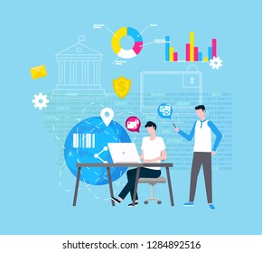 Online support and Internet help vector, web operator. Graphics and diagrams, planet model, global network and barcode, man at laptop and guy with gadget
