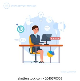 Online support manager. Call center, consultation, communication, client service, problem solving, technical support, help desk, system consulting clients, technologies. Illustration in cartoon style.
