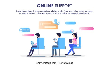 Online Support Operator Sit on Chair Workplace. Man and Woman Call Center Service Worker. Character use Modern Device Computer Laptop Tablet to Chat. Flat Cartoon Vector Illustration