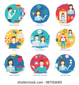 Online support service people staff workers icon set flat style vector. Multilingual multi language solution 24/7 callback FAQ call center expert advice store technical waiting time.