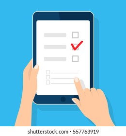 Online survey, checklist. Hand holds tablet and finger touch vertical screen. Feedback business concept. Cartoon flat vector illustration isolated on blue. Minimalistic design for web site, mobile app