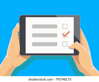 Online survey, checklist. Hand holds tablet and finger touchscreen. Feedback business concept. Cartoon flat vector illustration isolated on blue. Minimalistic design for website, mobile app on iPad