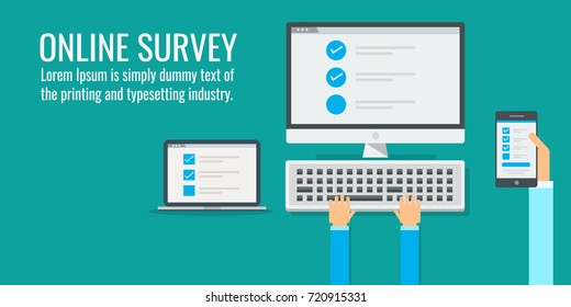 Online survey, checklist, handholds mobile phone vector concept