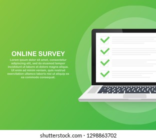 Online survey, checklist, questionnaire icon. Laptop, Computer screen. Feedback business concept. Vector stock illustration.