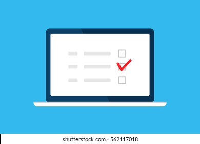 Online survey, checklist, questionnaire icon. Laptop, Computer screen. Feedback business concept. Cartoon flat vector illustration isolated on blue. Minimalistic design for web site, mobile app