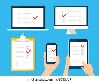 Online survey, checklist set. Hand holds tablet, computer, mobile and finger touch blank screen. Feedback business concept. Cartoon flat vector illustration for  web, website, app