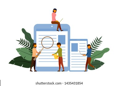 Online survey concept concept with character, vector illustration