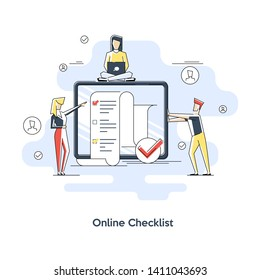Online survey concept with characters. flat line art showing long quiz exam paper sheet document icon, on-line questionnaire results, check list or internet test