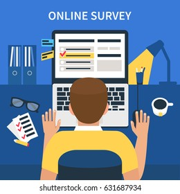 Online survey concept design for web banners, infographics. Man fill online form on laptop. Flat style vector illustration.