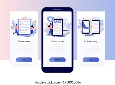 Online survey concept. Tiny people filling online survey form in smartphone app. Feedback service. Screen template for mobile smart phone. Modern flat cartoon style. Vector illustration