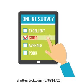 Online survey. Customer service feedback on screen tablet. Flat style vector illustration isolated on white background.