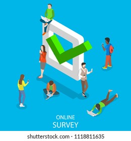 Online survey flat isometric vector concept