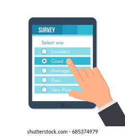 Online survey form on the tablet screen with the index finger. Customer service feedback concept. Vector illustration in flat style isolated on white background