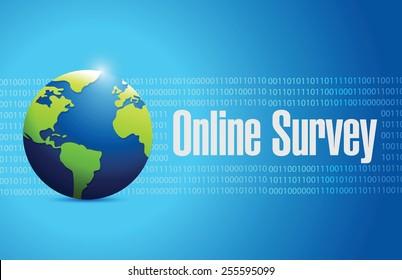 online survey international sign illustration design over a binary background
