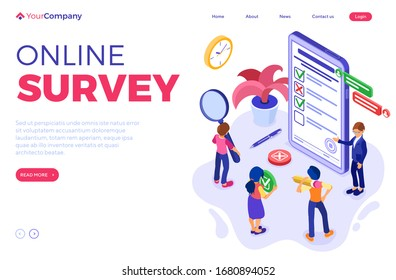 Online survey with isometric characters. feedback online chat. questionnaire form from phone. survey research. landing page template. isometric vector illustration