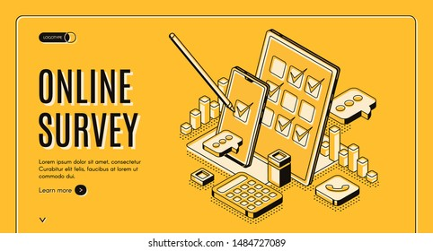 Online survey isometric web banner, stylus pen put mark on digital document checklist at tablet screen, customer questionnaire, feedback service internet technology. 3d vector landing page, line art