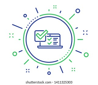 Online survey line icon. Select answer sign. Web interview symbol. Quality design elements. Technology online survey button. Editable stroke. Vector