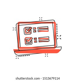 Online survey sign icon in comic style. Questionnaire vector cartoon illustration on white isolated background. Laptop, computer screen banner business concept splash effect.