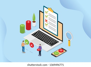 online survey technology concept with people and laptop with checklist pools - vector illustration