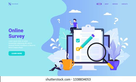 Online survey, user feedback, customer testimonials, online test, questionnaire landing page concept. Flat vector illustration with tiny characters for web site, landing page, hero image, banner