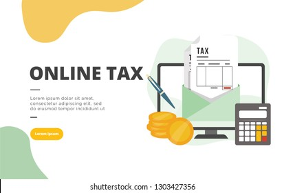 Online Tax flat design banner illustration concept for digital marketing and business promotion
