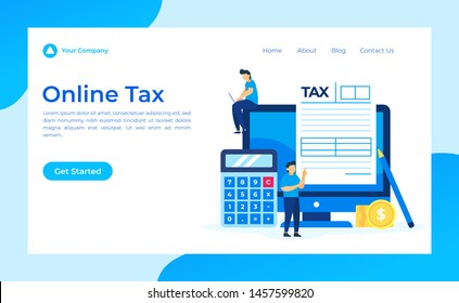 Online Tax Form, concept vector illustration for wallpaper, background, advertisement, banner, landing page and business, isolated