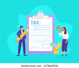 Online tax form vector illustration concept, people filling tax form, can use for, landing page, template, ui, web, mobile app, poster, banner, flyer