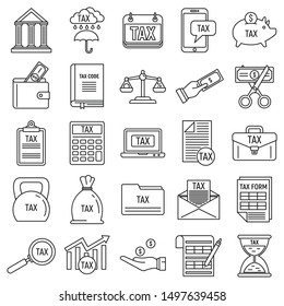 Online tax icons set. Outline set of online tax vector icons for web design isolated on white background