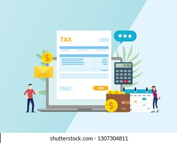 online tax invoice payment with paper document calculator laptop and people - vector illustration