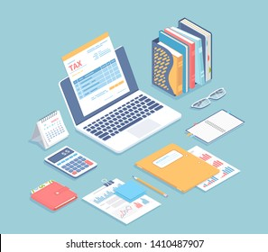Online tax payment, bookkeeping, accounting. Tax form on a laptop screen, accounts, calendar, calculator, folders, wallet, documents with charts on the table. Isometric 3d vector illustration.
