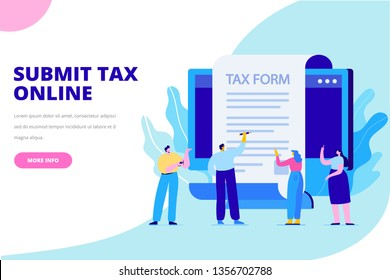 Online tax payment concept. Submit tax online. People filling tax form. Flat vector illustration for web.