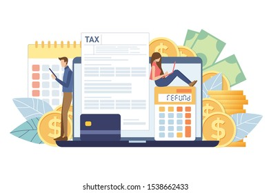 Online Tax payment. Filling tax form. TAX concept. People vector illustration.