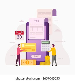 online tax payment service through computers and mobile phones design  concept with tiny people vector illustration