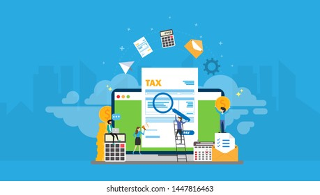 Online Tax Payment Tiny People Character Concept Vector Illustration, Suitable For Wallpaper, Banner, Background, Card, Book Illustration, Web Landing Page, and Other Related Creative
