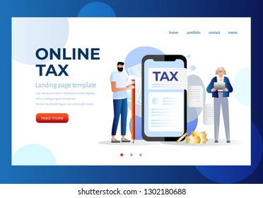 Online tax payment vector illustration concept, people filling tax form, can use for landing page template, ui, web, mobile app, poster, banner, flyer. Character design