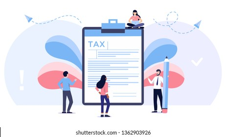 Online tax payment vector illustration concept, people filling tax form, can use for, landing page, template, ui, web, mobile app, poster, banner, flyer