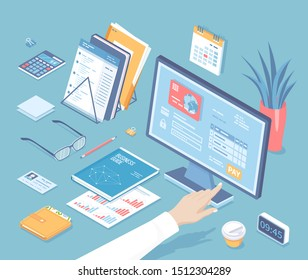 Online tax payment via computer. Monitor with tax form on the screen. Man finger presses the pay button. Internet banking concept. Online paying Bookkeeping Accounting Isometric 3d vector illustration