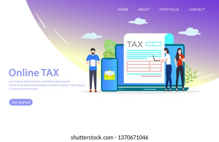 online tax vector illustration concept, can use for, landing page, template, ui, web, mobile app, poster, banner, flyer