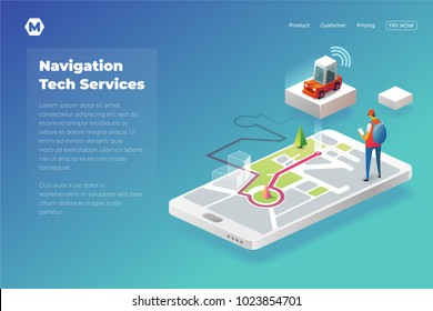 Online Taxi in modern world. Isometric landing page