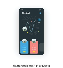 Online Taxi service with red and blue colors UI, UX, GUI screen for mobile apps design. Modern responsive user interface design of mobile applications including Taxi Location and map screen