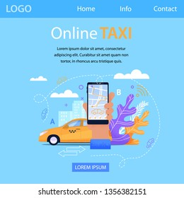 Online Taxi Service Square Banner. Mobile Application. Yellow Car in Cityscape Town Silhouette. Hand with Smartphone and Route, Navigation Positioning on Screen. Landing Page Template.