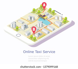 Online taxi service vector web banner template. Isometric smartphone with yellow taxicab and city map on screen. Taxi booking mobile app concept.