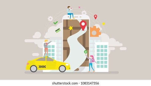 Online Taxi Tiny People Character Concept Vector Illustration, Suitable For Wallpaper, Banner, Background, Card, Book Illustration, Web Landing Page, and Other Related Creative