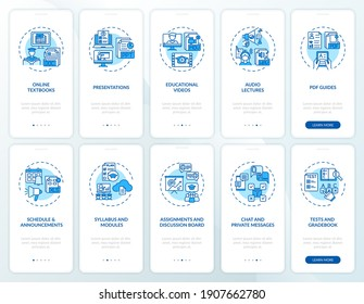Online teaching onboarding mobile app page screen with concepts set. Online teaching tips walkthrough 10 steps graphic instructions. UI vector template with RGB color illustrations