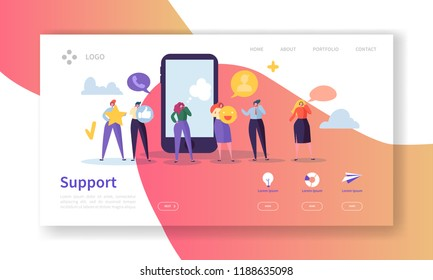Online Technical Support Landing Page Template. Assistance Service Website Layout with Flat People Characters Hotline Operator. Easy to Edit and Customize Mobile Web Site. Vector illustration